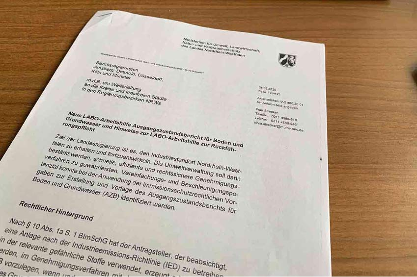 Erlass Umweltministerium (MULNV) NRW vom 25.03.2020 zum Ausgangszu-standsbericht (AZB)