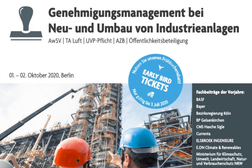 """Vorankündigung der 5. Jahrestagung """"Genehmigungsmanagement bei Neu- und Umbau von Industrieanlagen"""""""